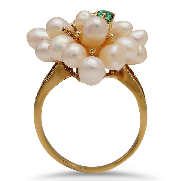 Pearl Grape Cluster Emerald Ring
