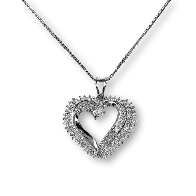 Asymmetrical Diamond Heart Pendant