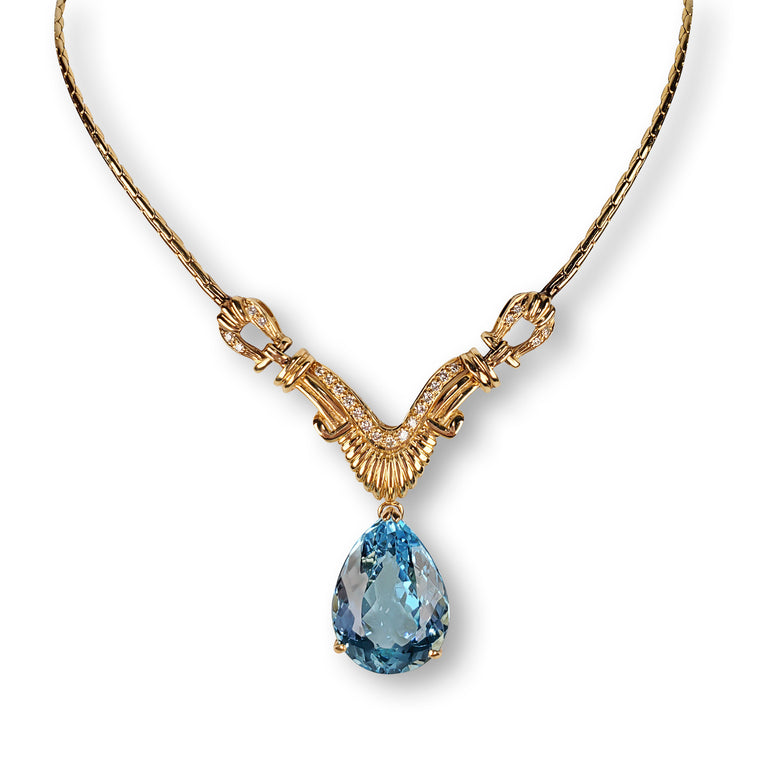 Pear Blue Topaz and Diamond Necklace