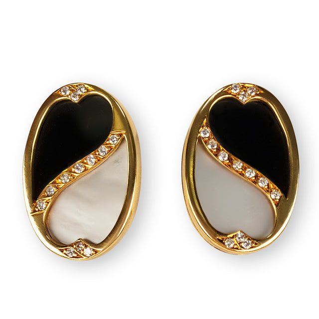 Diamond, Onyx and Mother of Pearl Earrings