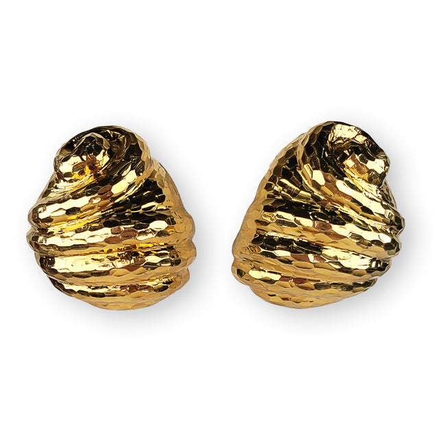 Swirl Yellow Gold Earrings