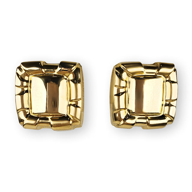 Square Yellow Gold Earrings