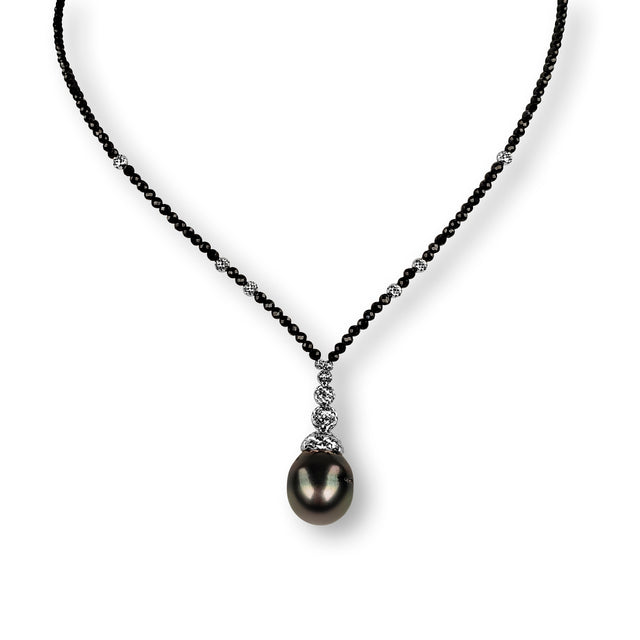 Tahitian Pearl and Black Spinel Necklace