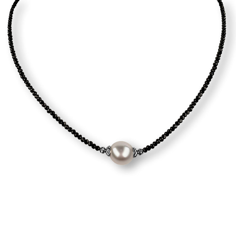 Pearl and Black Spinel Necklace