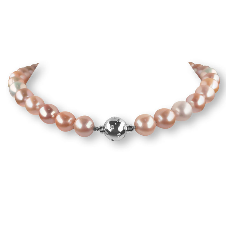 Pink Pearl Necklace with Diamond Clasp