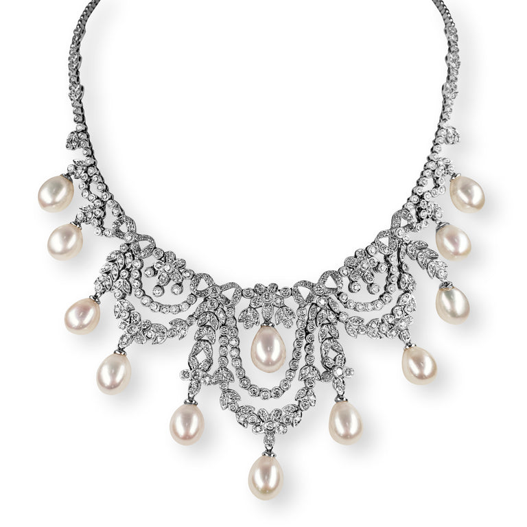 Diamond and Pearl Statement Necklace