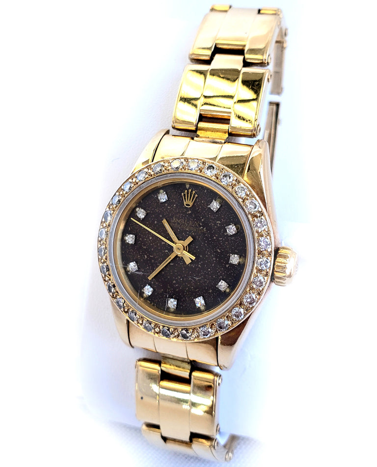 Rolex Ladies 18kt Yellow Gold Diamond and Lapis, 26mm