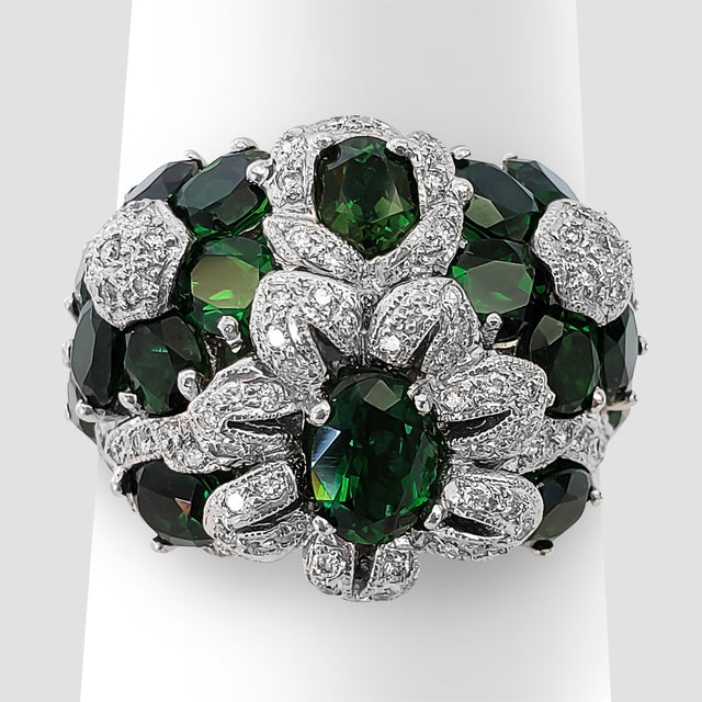 Floral Tsavorite and Diamond Ring