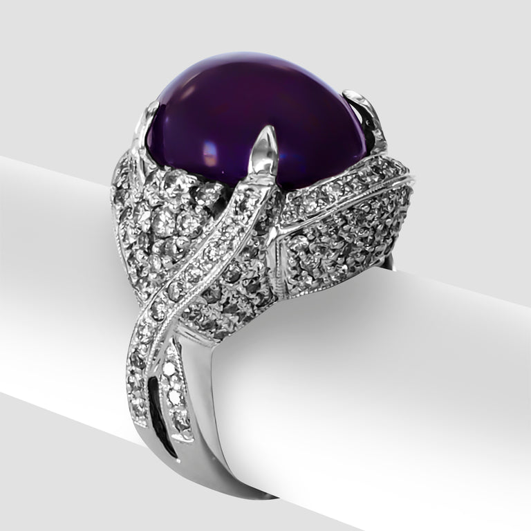 Cabuchon Amethyst and Diamond Ring