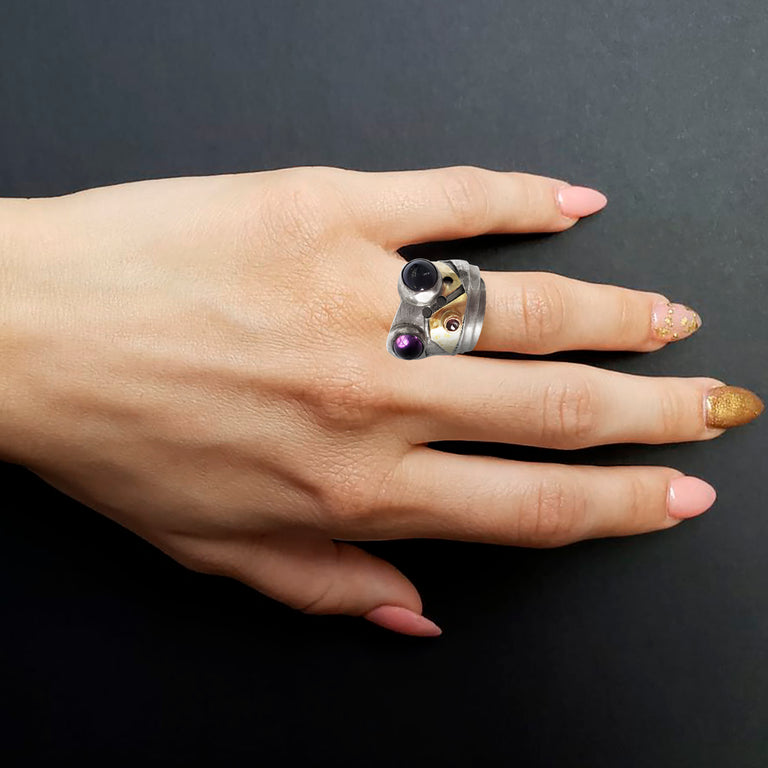 Artsy Amethyst and Silver Ring