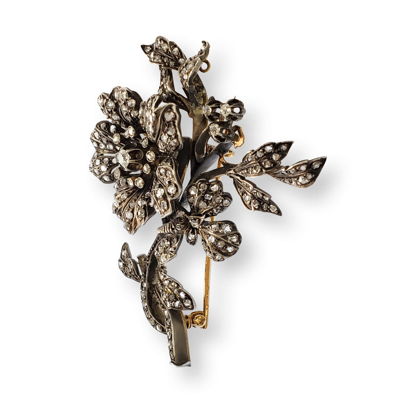 Vintage Diamond Floral Brooch