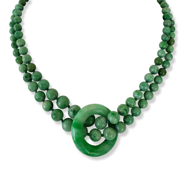 Double-strand Jade Bead Necklace