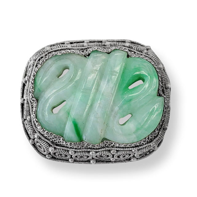 Carved Light Green Jade Pin