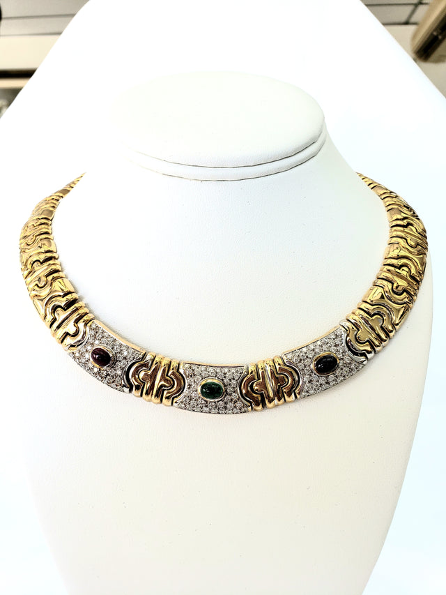 Heavy Italian Necklace with Multi-Colored Stones. Call us for price.