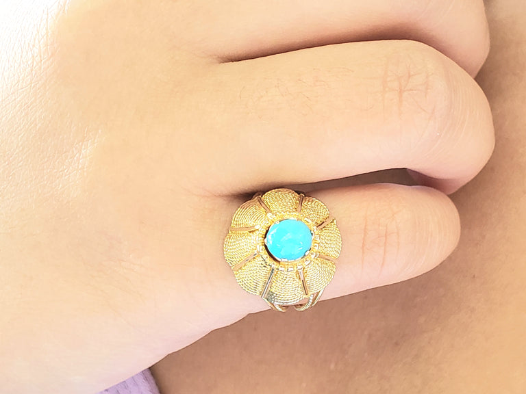 Yellow Gold Turquoise Ring