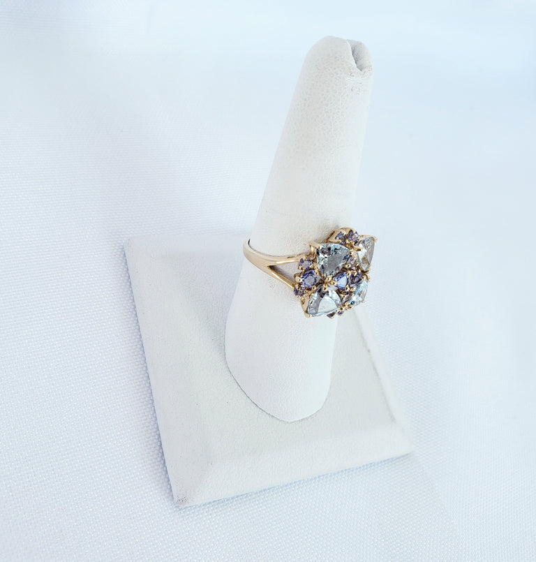 Aquamarine and Tanzanite Ring
