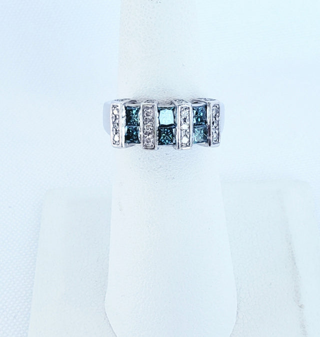 Blue and White Diamond Ring