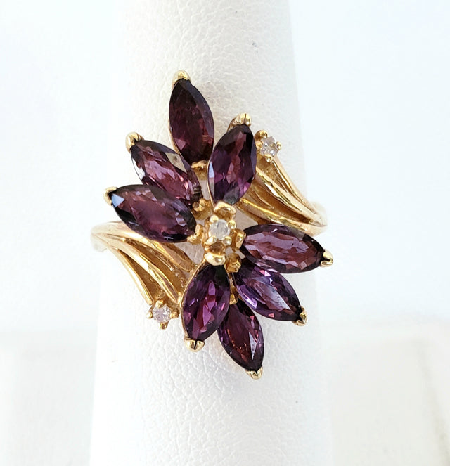 Flower-Shaped Ruby Ring