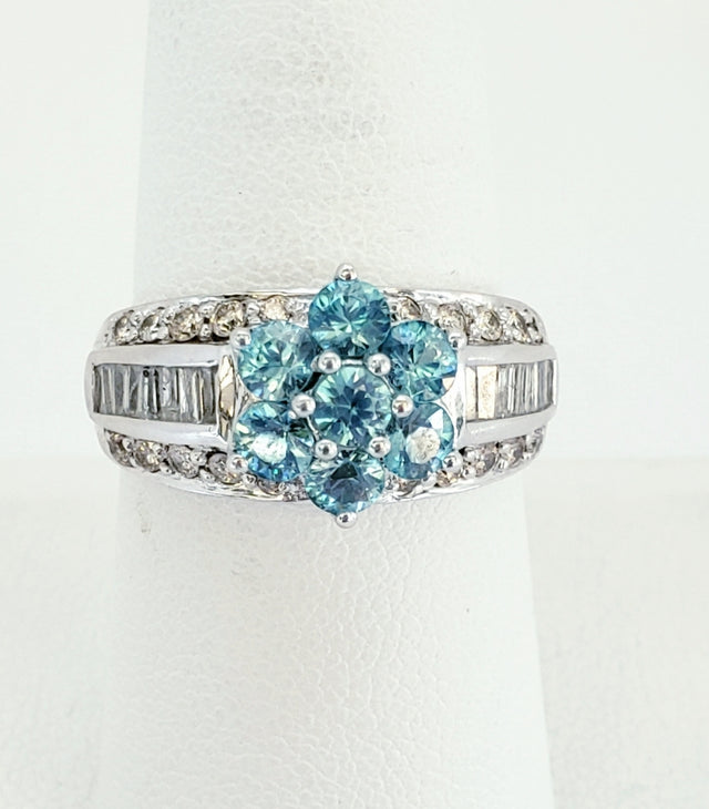 Flower-Shaped Blue Topaz Ring