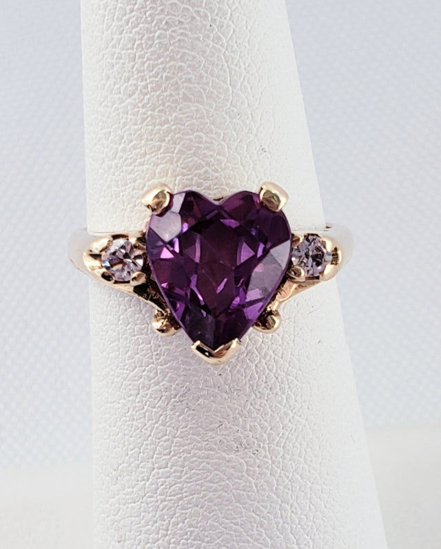 Heart-Shaped Amethyst Ring