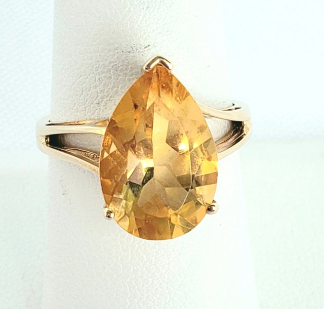 Pear-Shaped Citrine Ring