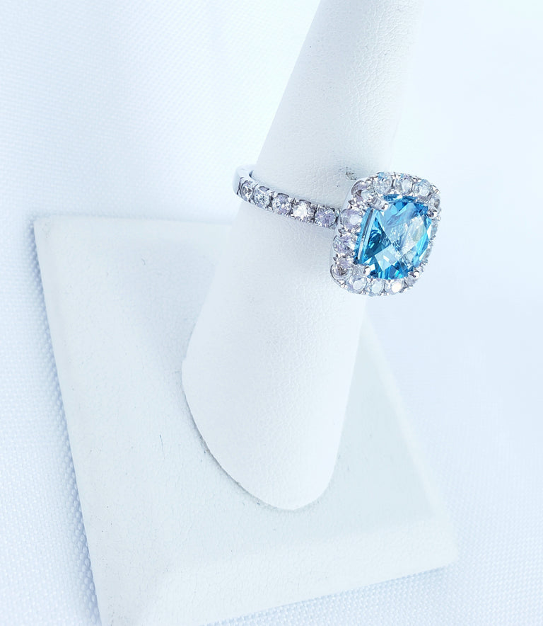 Blue Topaz and White Sapphire Ring