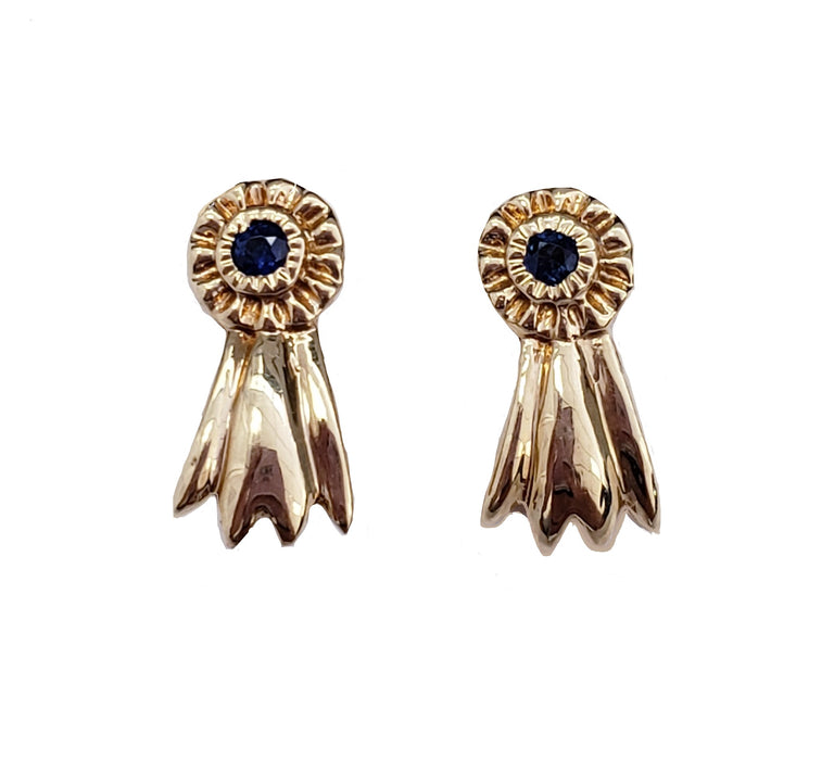 Yellow Gold Blue Sapphire Earrings