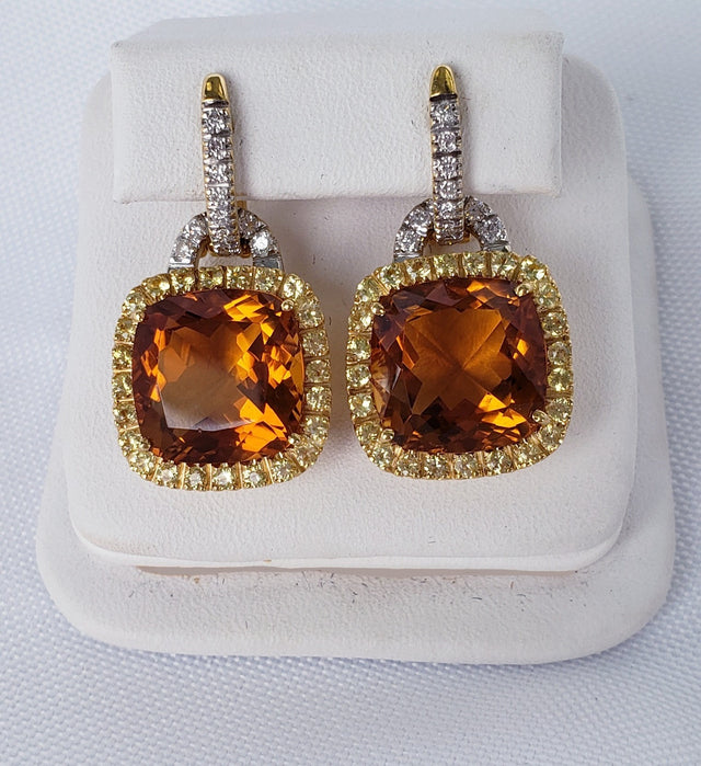 Cushion Cut Citrine Earrings