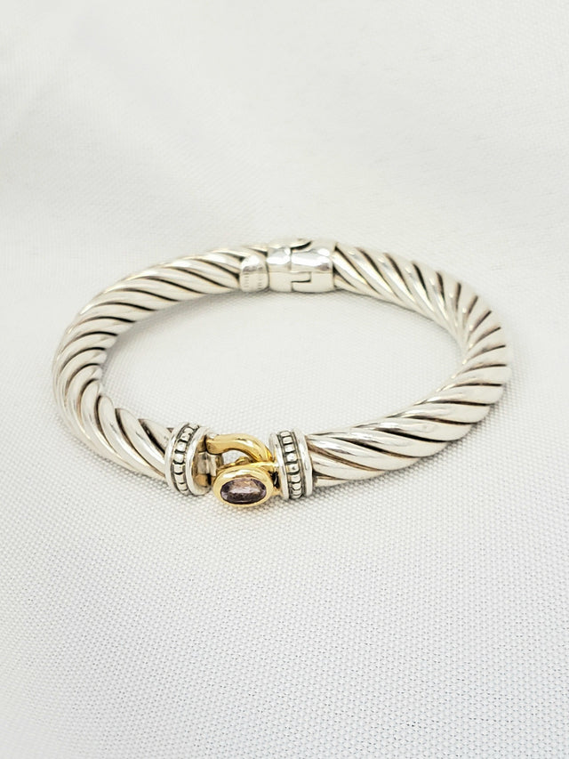 David Yurman Cable Classic Bracelet with Amethyst and 18K Gold
