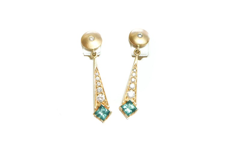 Topaz and Diamond Drop Earrings
