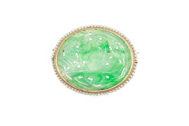Antique Carved Jade Brooch