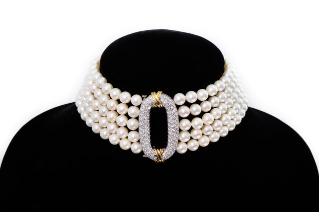 Diamond and Pearl Choker