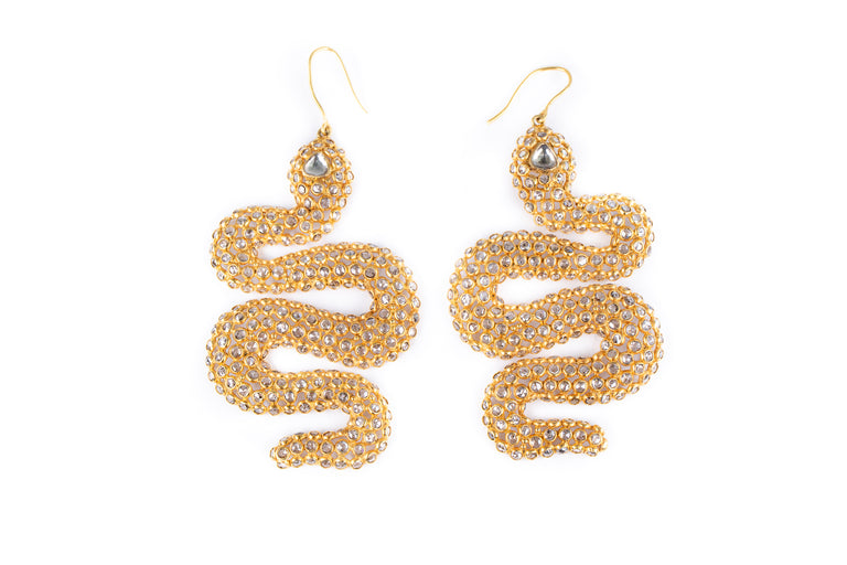 Rose Cut Snake Diamond Earrings