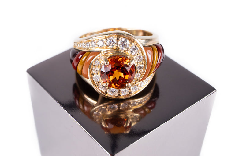 Mandarin Garnet, Diamond and Agate Ring