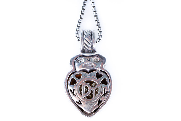 David Yurman Diamond Pave Heart Necklace