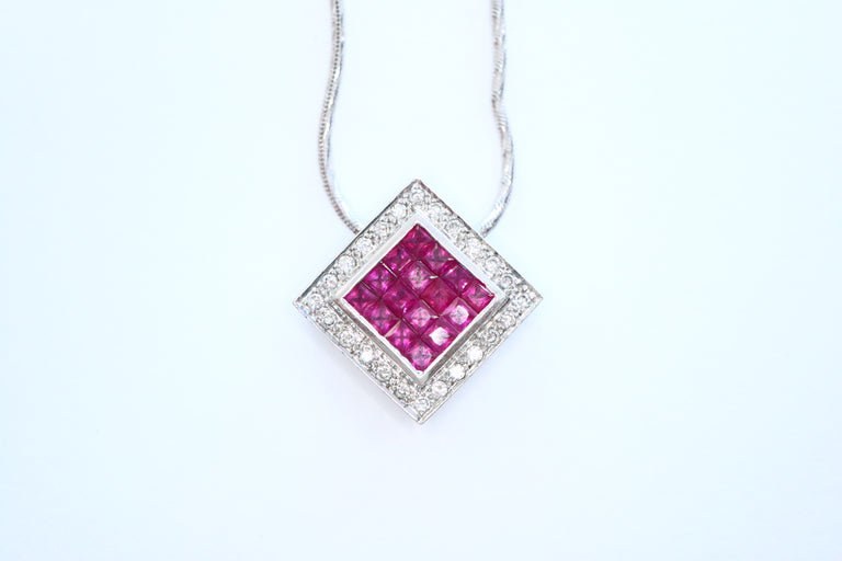 Diamond Ruby Invisible Set Diamond Pendant & Chain