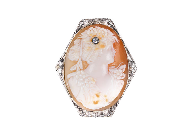 Cameo Coral and Diamond Vintage Brooch