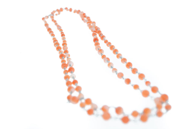Antique Coral Platinum Chain