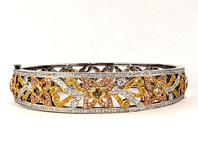 Tri-color Gold Diamond Cuff