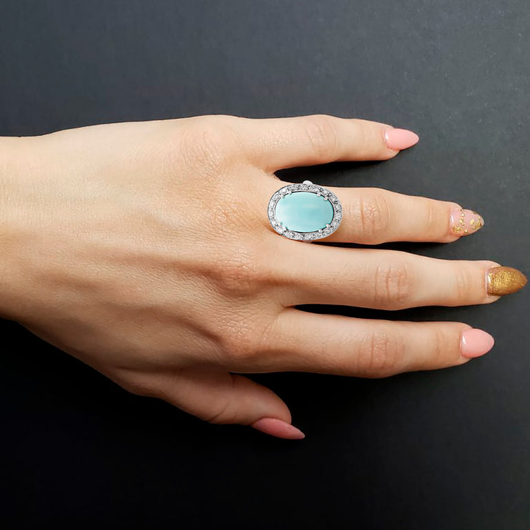 Turquoise Halo Ring