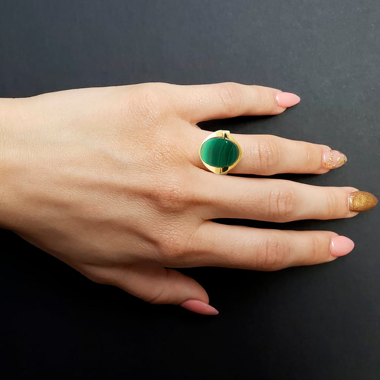 Malachite Yellow Gold Ring