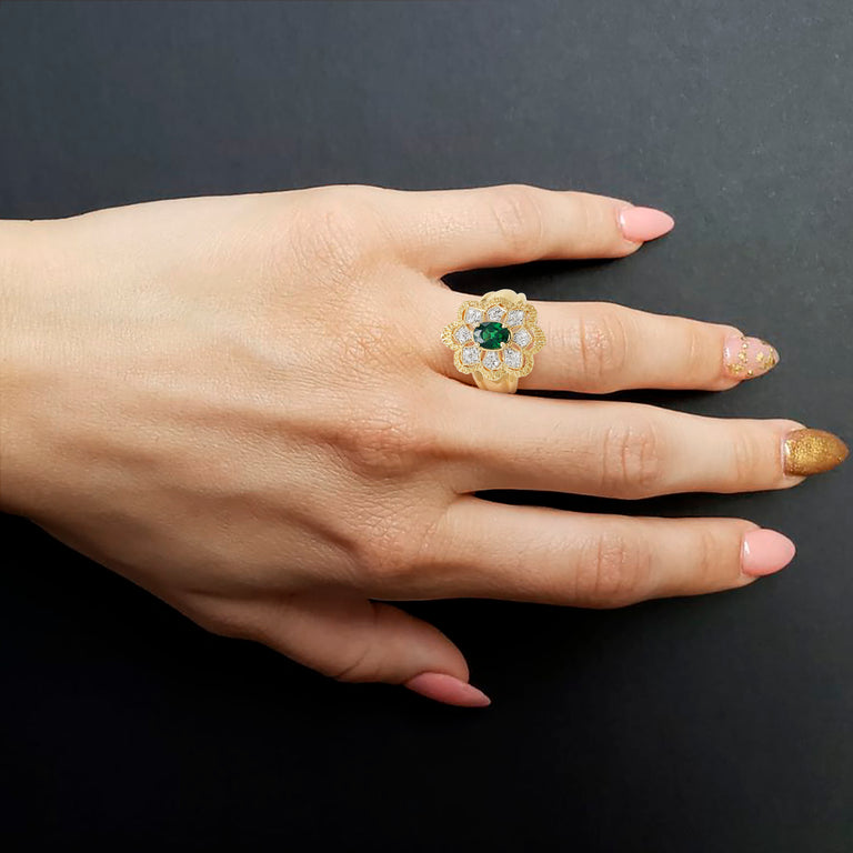 Flower Tsavorite Ring