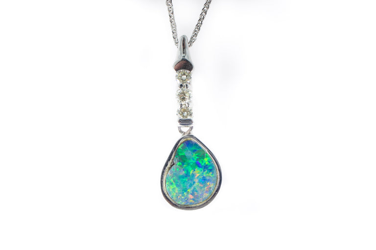 Diamond and Opal Pendant Necklace