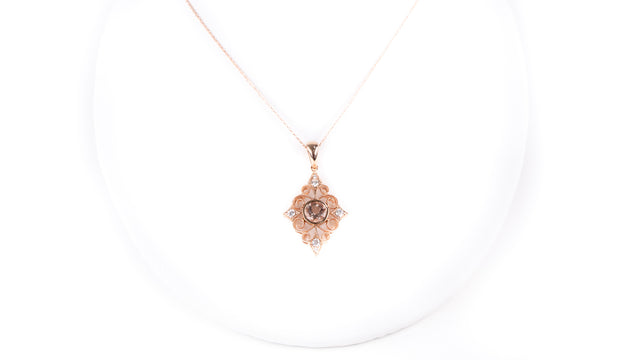 Morganite and Diamond Rose Gold Necklace