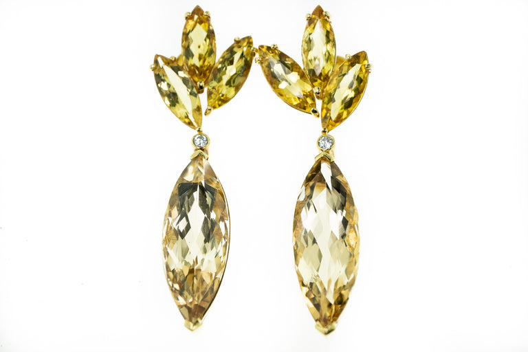 Golden Beryl and Citrine Drop Earrings