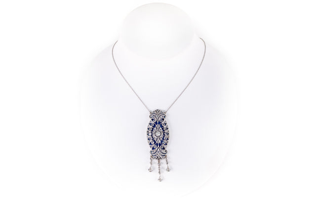 Rose Cut Diamond and Crystal Overlay Pendant Necklace