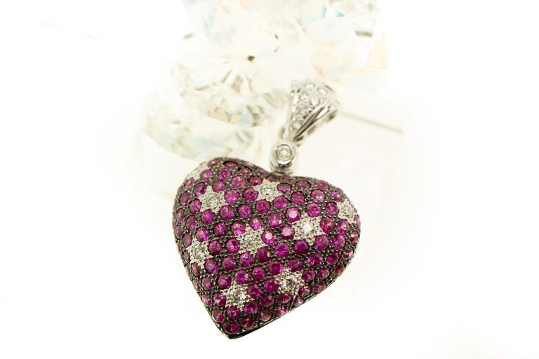 LeVian Pink Sapphire and Diamond Heart Pendant