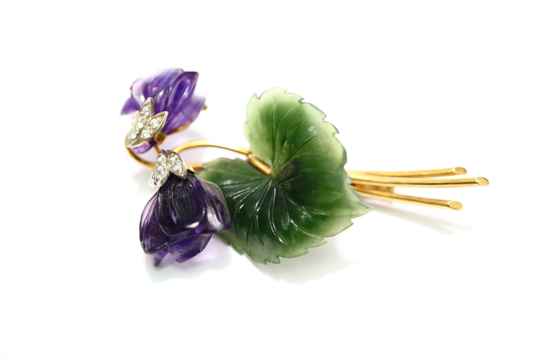 Sherve Austria Diamond, Amethyst and Jade Brooch