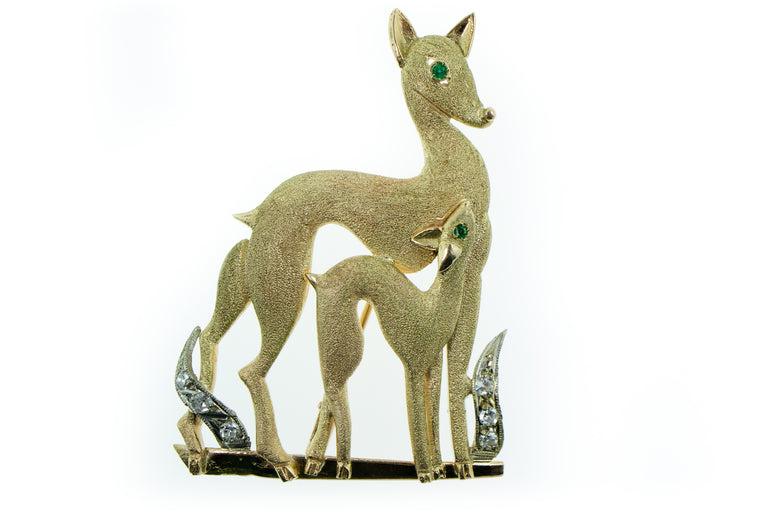 Gold, Diamond and Tsavorite Deer Brooch