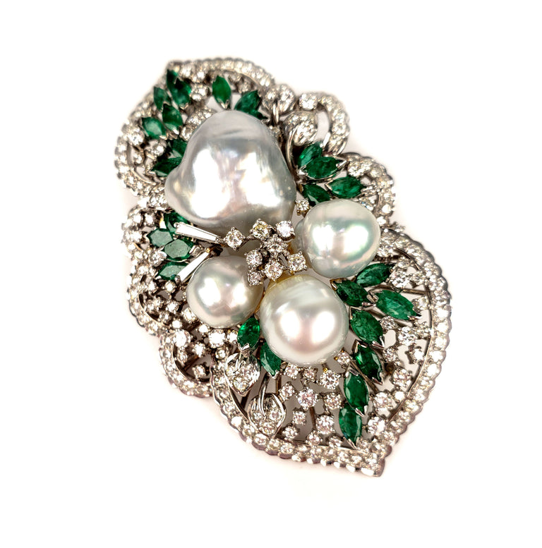SOLD - Pearl and Emerald Brooch or Pendant